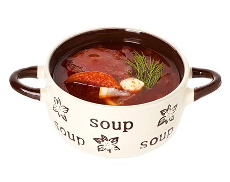 solyanka: Solyanka, Russian soup and sour cream isolated