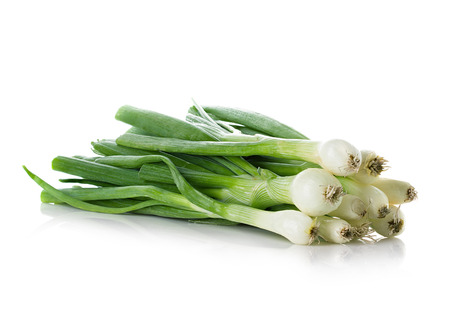 Fresh chives isolated on white ground photo