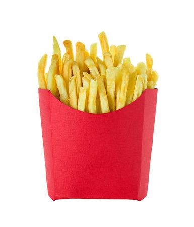 Franse frietjes geïsoleerd op witte achtergrond Stockfoto