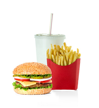 fast food isolated on white background photo