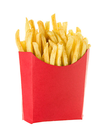crunchy: French fries isolated on white background Stock Photo