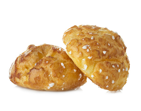 choux bun: choux pastry, eclairs isolated on white