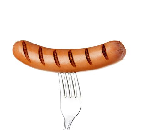 hot drink: Grilled sausage on a fork