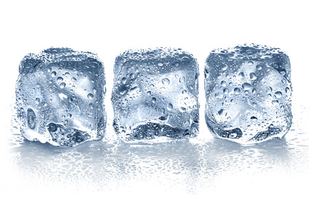 ice crystal: Ice cubes isolated on white.