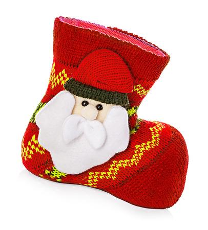 botas de navidad: Botas de navidad, calcetines aislados en fondo blanco