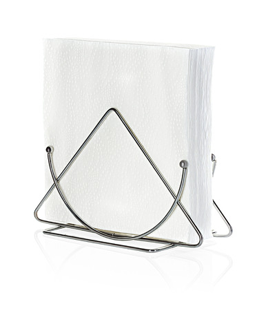 A table napkin holder with napkin, isolated on white photo