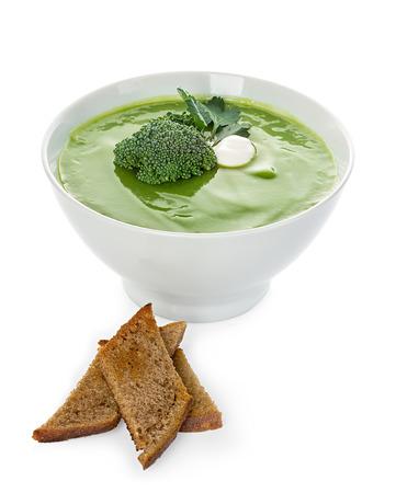 Broccoli cream soup isolated photo