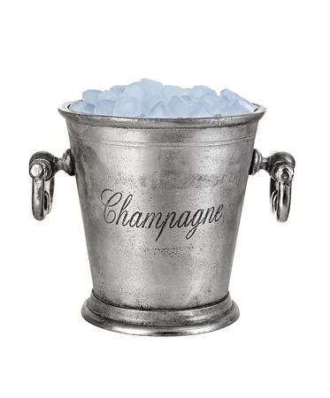 special steel: Champagne bucket, full with ice isolated on white background