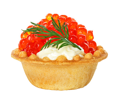 Tartlet with red caviar isolated on white background photo