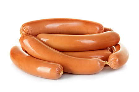 white meat: Sausages isolated on a white background Stock Photo
