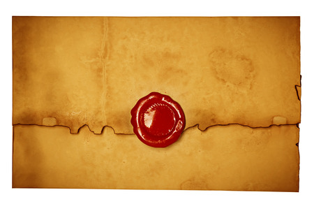 Antique old envelope with wax seal. photo