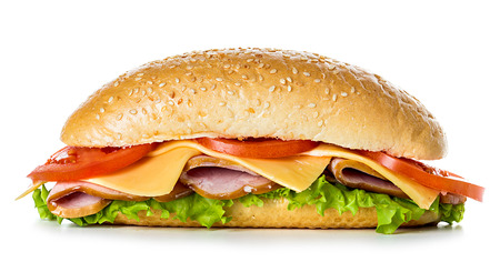 turkey bacon: sandwich isolated Stock Photo
