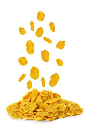 Vliegende cornflakes op een witte achtergrond Stockfoto