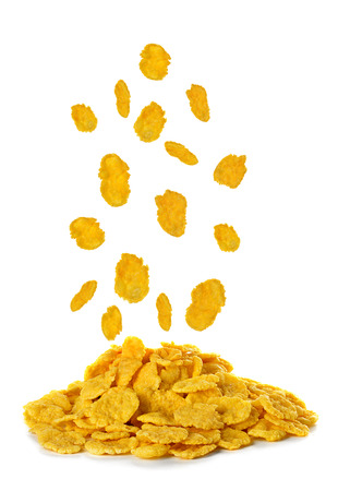 Flying corn flakes isolated on white background Banque d'images