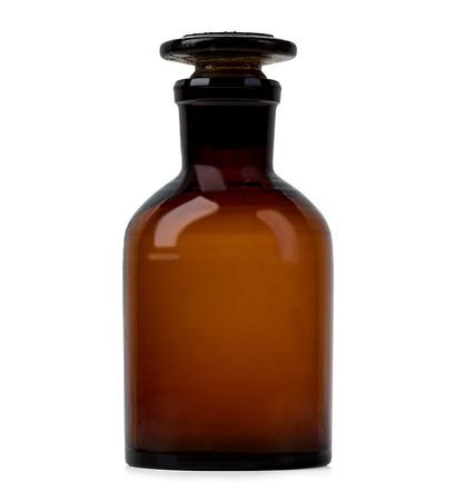 farmacia: Botella de la farmacia vieja por medicamentos aisladas en fondo blanco
