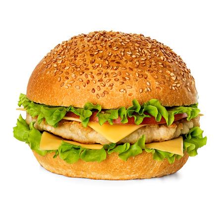 sandwich de pollo: Hamburguesa aislado en blanco Foto de archivo