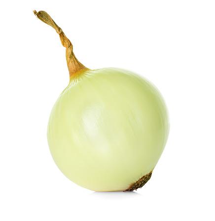 Peeled onion isolated on white background