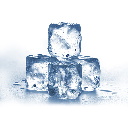 Ice cubes on white background. Banque d'images
