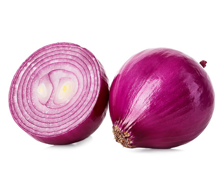 halves: Red sliced onion isolated on white background