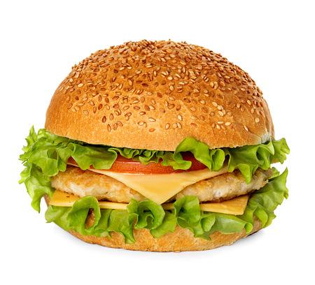 chicken sandwich: Hamburguesa con queso aisladas sobre fondo blanco