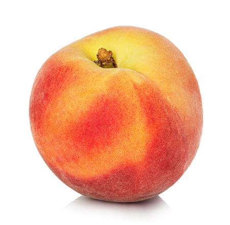 Peach geïsoleerd op witte achtergrond Stockfoto