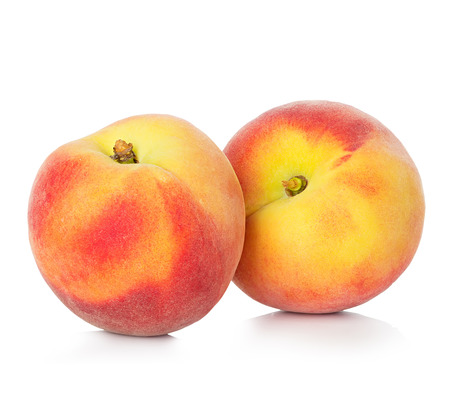 Peaches isolated on white background Stock Photo