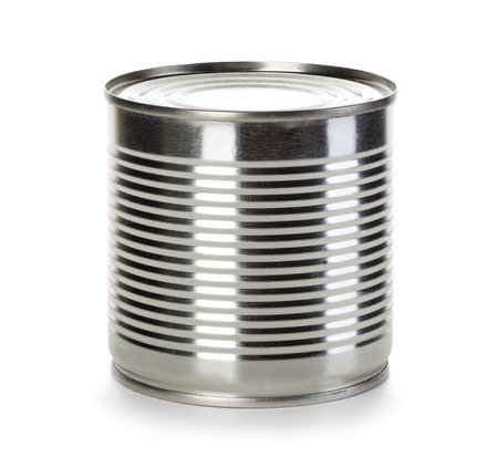 tinned goods: Can isolated on a white background. Stock Photo