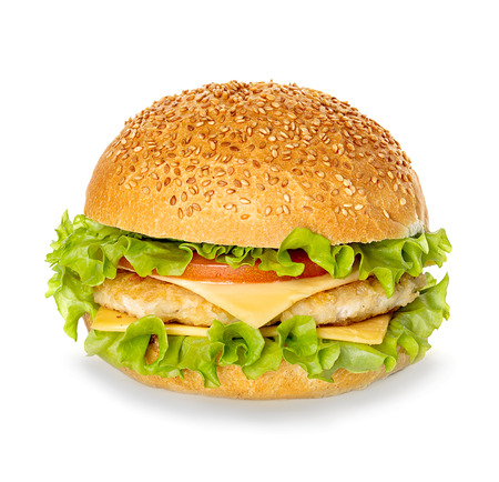 gourmet burger: Cheeseburger isolated on white background