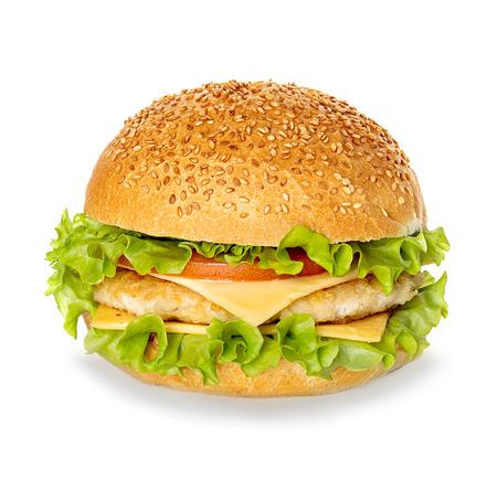 sandwich de pollo: Hamburguesa con queso aisladas sobre fondo blanco