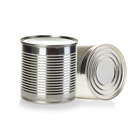 tinned goods: Cans isolated on white background Stock Photo