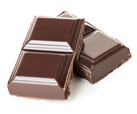 Chocolade die op witte achtergrond wordt geïsoleerd
