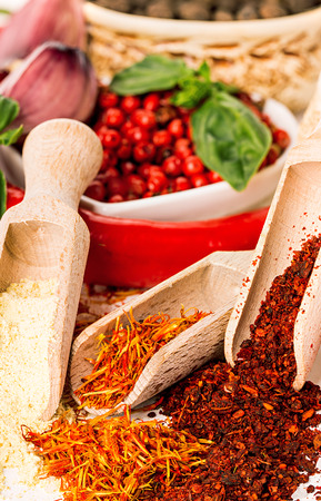 seasonings: Spices and seasonings close-up as a background Stock Photo