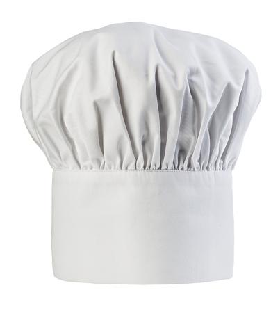pasteleria francesa: el sombrero del cocinero cerca de aislados sobre un fondo blanco. Cocineros tapa. Foto de archivo