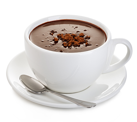 Hot chocolate close-up isolated on a white background. Stockfoto
