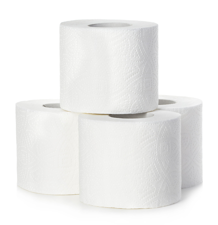 loo: Toilet paper close-up isolated on a white background.