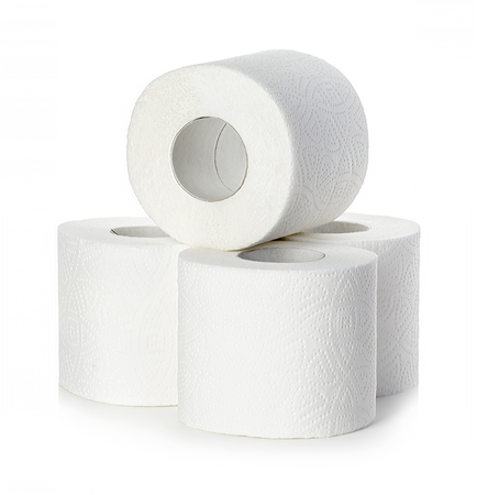 absorbent: Toilet paper close-up isolated on a white background.