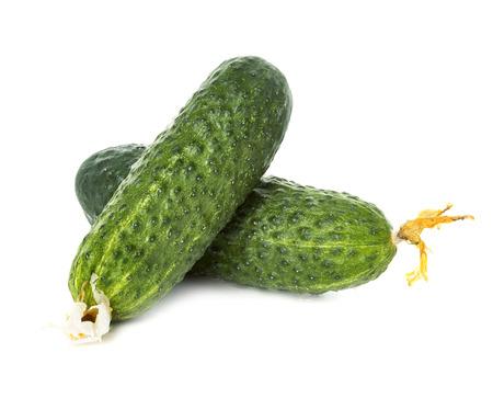 cuke: Fresh ripe green cucumbers isolated on white background. Stock Photo