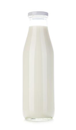 pasteurized: Bottle of milk close-up isolated on white background.