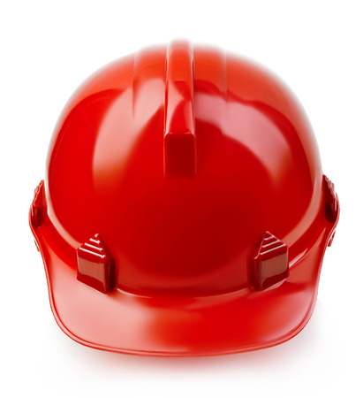 red hat: Red safety helmet close-up isolated on a white background. Stock Photo