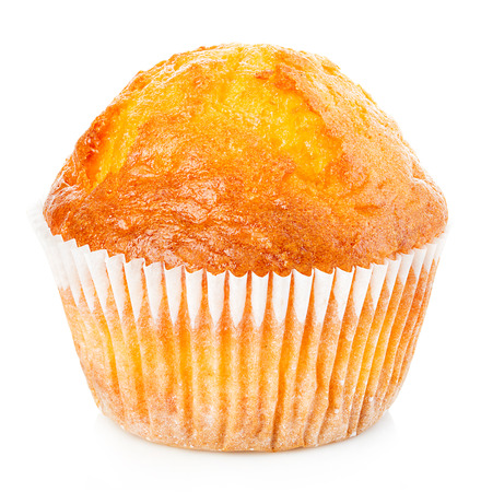 Delicious muffin close-up isolated on white background. Banque d'images