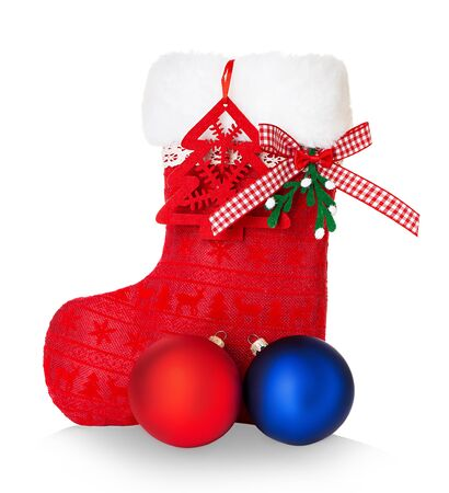 Red Santa's boot isolated on white Banque d'images