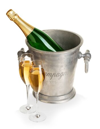 Champagne bottle in ice bucket with glasses of champagne isolated. Archivio Fotografico - 126332843