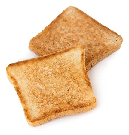 Slices of toast bread isolated on white