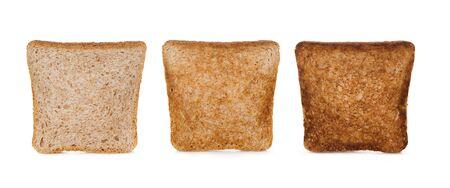 Three slices toast bread isolated on white