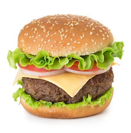 American big delicious classic burger isolated on white