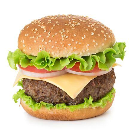 Hamburguesa clásica deliciosa grande americana aislada en blanco