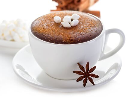 Hot chocolate close-up on a white