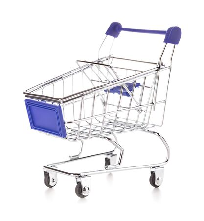 Shopping cart isolated on white Banque d'images