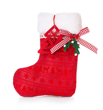 Red Christmas boot on white background isolated. Banque d'images