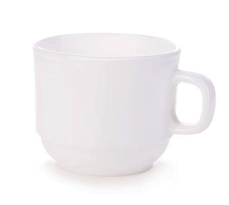 White cup close-up isolated on a white